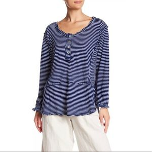 NWT We The Free Blue/White Striped Long Sleeve Top